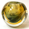 Rounded Yellow Cut Art Glass Votive