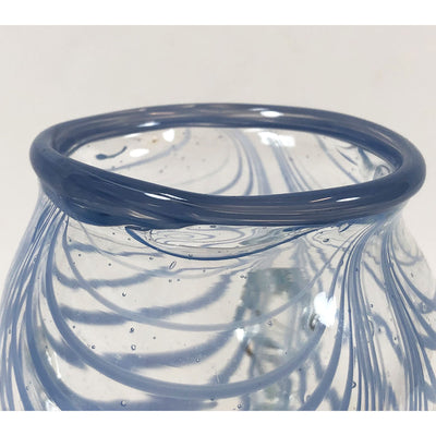 Vintage Blue Striped Blown Glass Feathered Vase Signed Catania