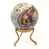 "Marbled 5"" Stone Sphere on Solid Brass Tripod Stand"