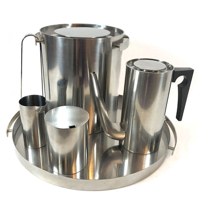 1960's Stainless Steel Cylinda Line Tea Set by Arne Jacobsen for Stelton