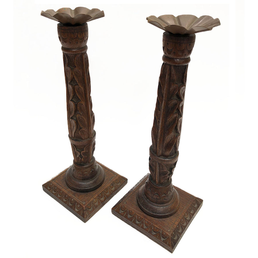 Antique English Pair Carved Wooden Candlestick Holders