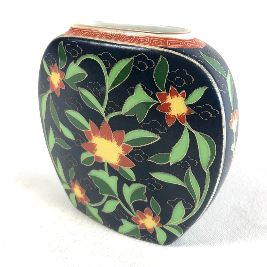 Vintage Floral Patterned Takahashi Kashmir Hand Decorated Porcelain Vase