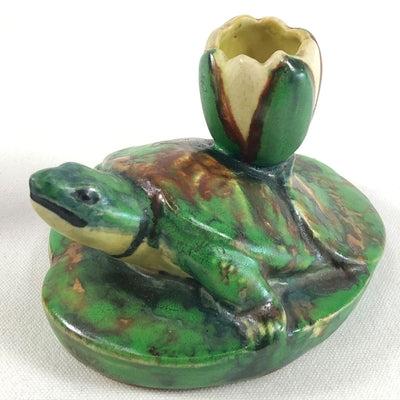 Vintage Pair Old Weller Pottery Coppertone Turtle & Lily Pad Candle Holders