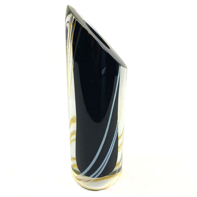 1988 Signed Correia Black & Silver Art Glass Vase