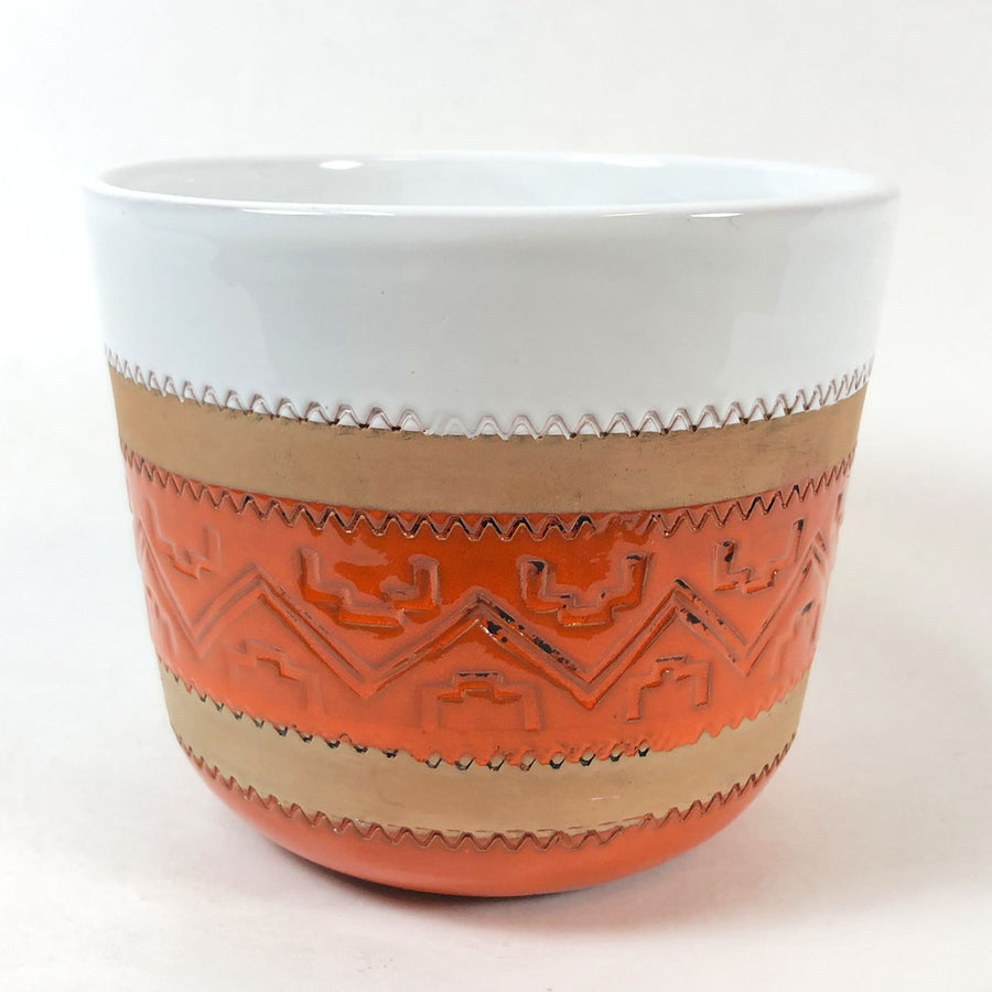 Vintage Bitossi Orange & White Planter