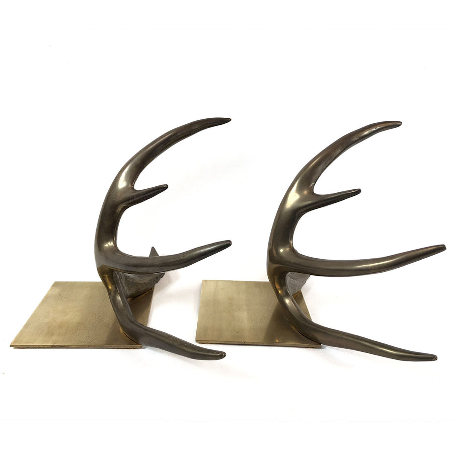 1978 Arthur Court Solid Brass Antler Bookends