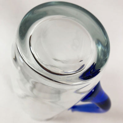 Clear Glass Cocktail Pitcher with Stylized Blue Handle