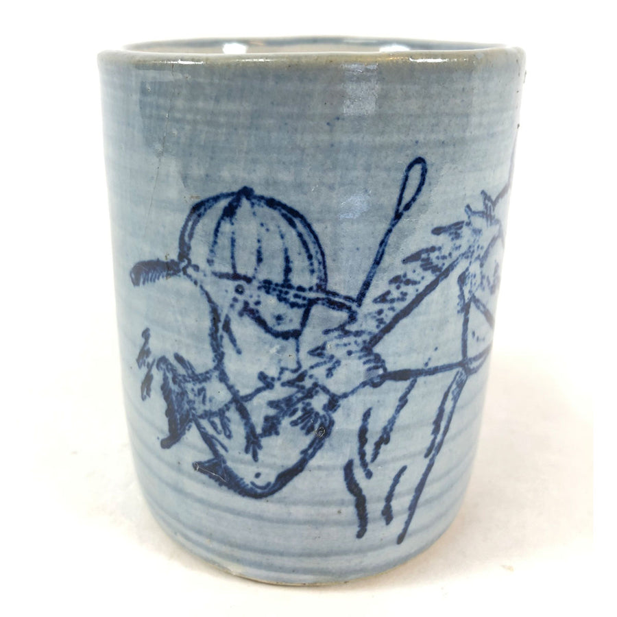 1975 Blue Kentucky Derby Louisville Stoneware Cup