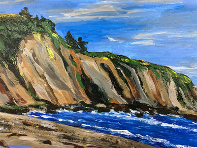 2013 Acrylic On Canvas Mendocino Coastal Landscape Signed Sue Volz
