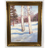 Vintage Oil On Board Winter Landscape Signed