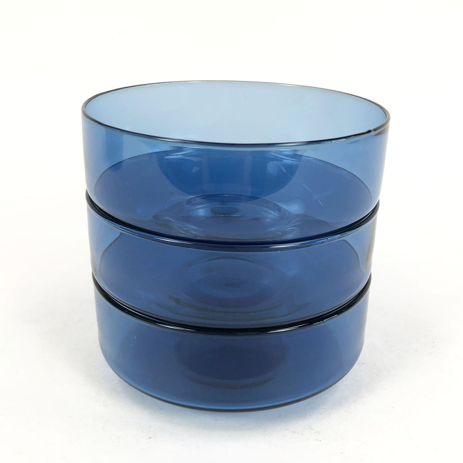 Elegant 1950's Iittala Finland Timo Sarpaneva Blue Glass Dessert Bowl - 3 Available