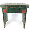 Vintage Chippy Green Painted Wood Stool