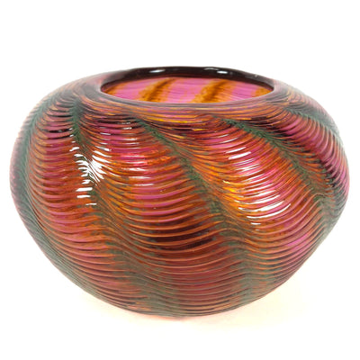 2016 Pink & Green Swirled Art Glass Vase Signed Hopman