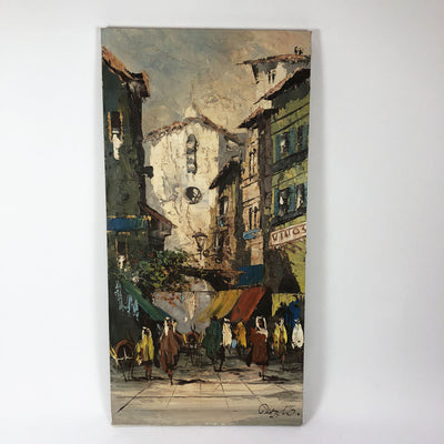 Vintage Oil on Canvas Spanish Village Landscape Signed