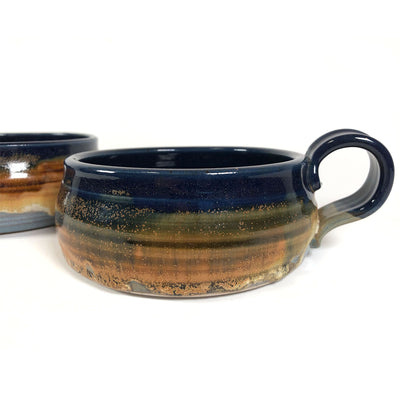 Artisanal Studio Pottery Soup Bowls with Handle Signed