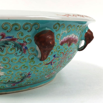 Vintage 1960s Aqua Chinese Pottery Lidded Bowl