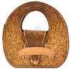 Large Tooled Leather Round Bag