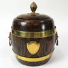 Ornate Wood Barrel Ice Bucket With Lion's Head Handles