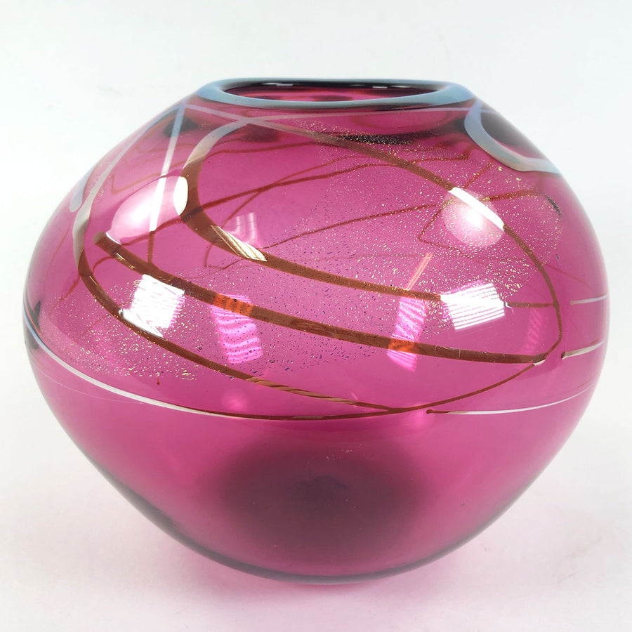 2001 Celestial Pink Art Glass Round Vase Signed Scott & Laura Curry