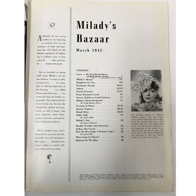 Vintage Milady's Bazaar Magazine March 1942