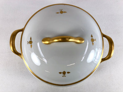 Japanese Round Covered Porcelain Serving Dish with Gold Decorative Pattern