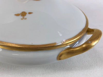 Japanese Oval Covered Porcelain Serving Dish with Gold Decorative Pattern