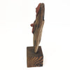 Driftwood and Clay Sculpture Woman with Shawl on Wood Block