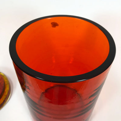 Blenko Amberina Jar with Patterned Lid