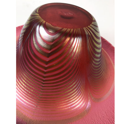 Vintage Decorative Hand Blown Pink Glass Art Bowl Signed