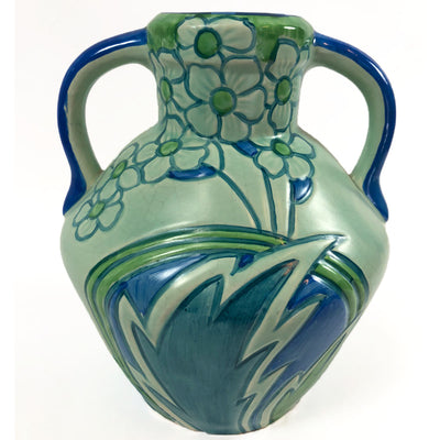 1930s Phoenix Blue & Green Floral Classic Jug by Thomas Forester & Sons #2