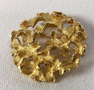 Golden Round Lisner Brooch Organic Design Signed