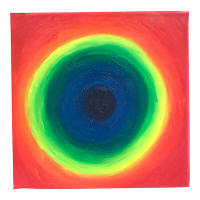 1990's Rainbow Abstract Oil Painting on Small Square Canvas