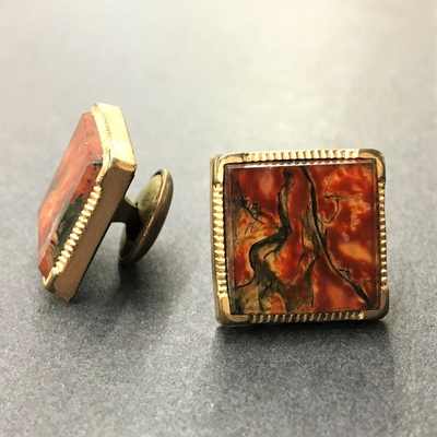 Pair Polished Stone Cuff Links