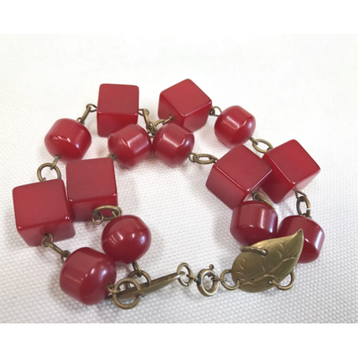 Red Bakelite Double Bracelet