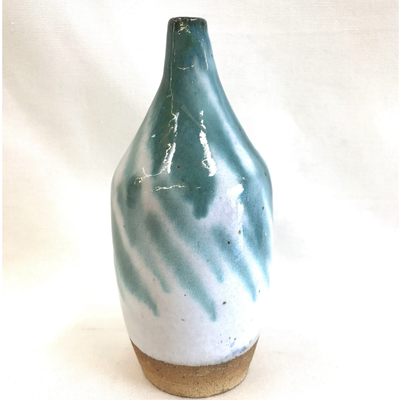 Studio Pottery teal white glazed stoneware bud vase at The Mart Collective in Venice, CA