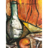 1930s Vintage Swedish Cubist Bottles and Fish Still Life Painting