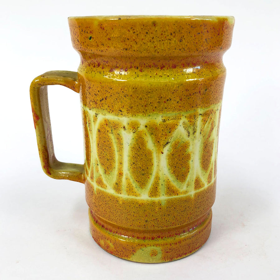 Vintage Mid-Century Italian Studio Earthenware Mug Acid Yellow