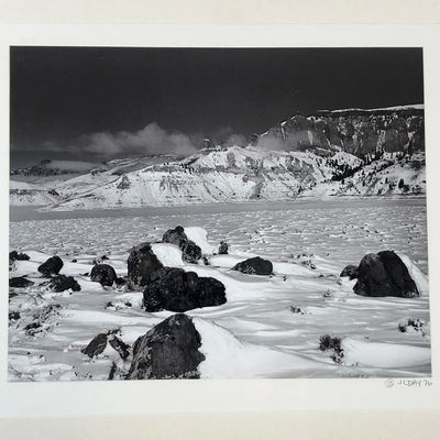 1976 B&W Nature Photography Snowy Mountain Landscape Signed