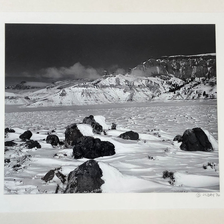 1976 Black & White Nature Photography Snowy Mountain Landscape Signed