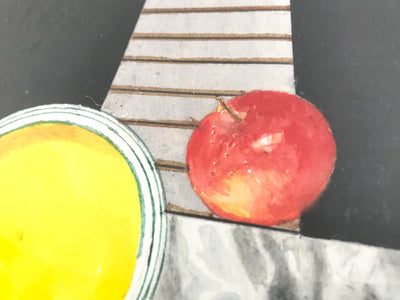 Contemporary Surreal Apple and Golf Ball Watercolor Painting