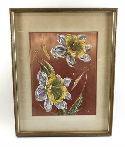 Framed Silk With Hand-Painted Columbine Flowers