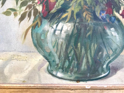 Vintage Oil on Canvas Floral Still Life Signed Hans Menhard