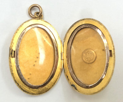 Gold Filled Oval Locket Antique - Etched Design