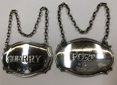 Pair of 1980's English Sterling Silver Bottle Tags Sherry & Port