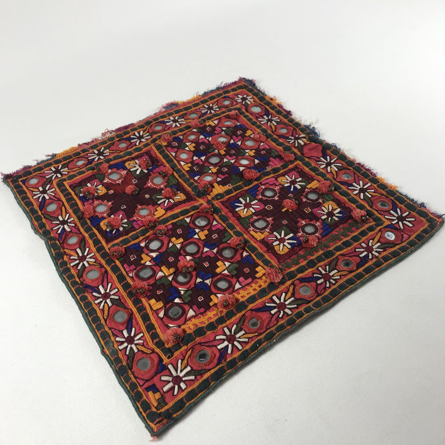 1970's Embroidered Indian Tapestry Square with Mirrors and Knotted Tassels