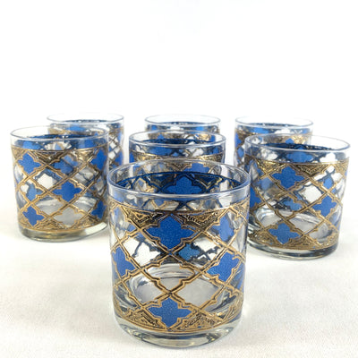Retro Blue & Gold Double Old Fashioned Glasses - Set 7
