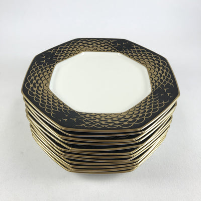 Mikasa 8-Sided Salad Plates Aegean Gold Pattern - Set of 12