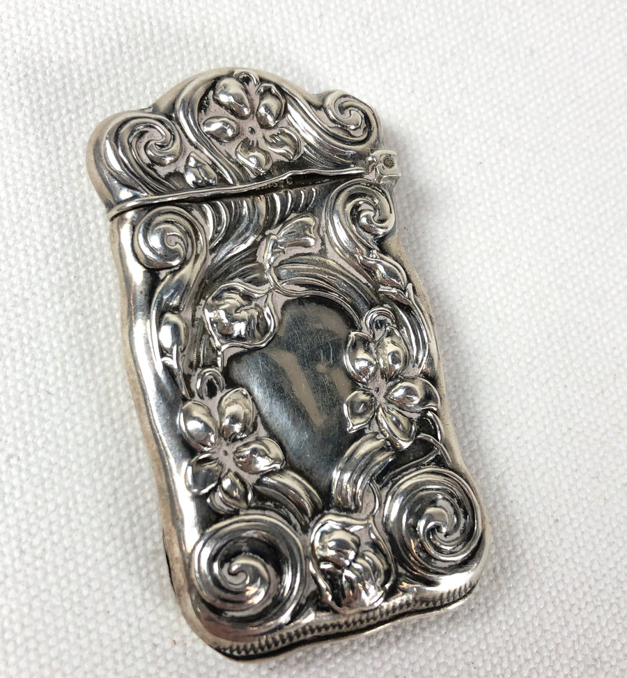 Antique Sterling Silver Match Safe Repousse