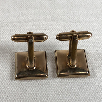 Vintage Gold Tone Cuff Links Inlaid Crocodile Hide