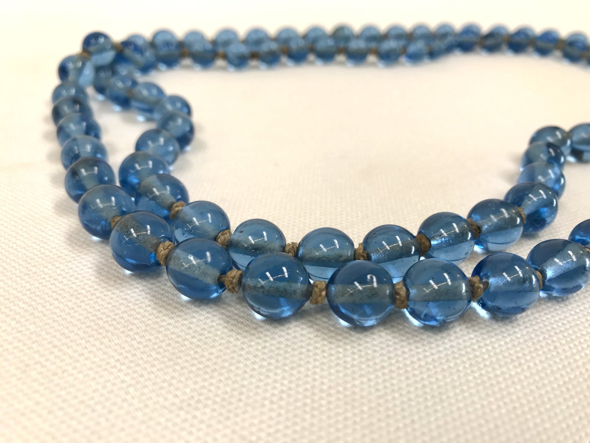 Blue Oval Chinese Peking Glass Beaded Necklace
